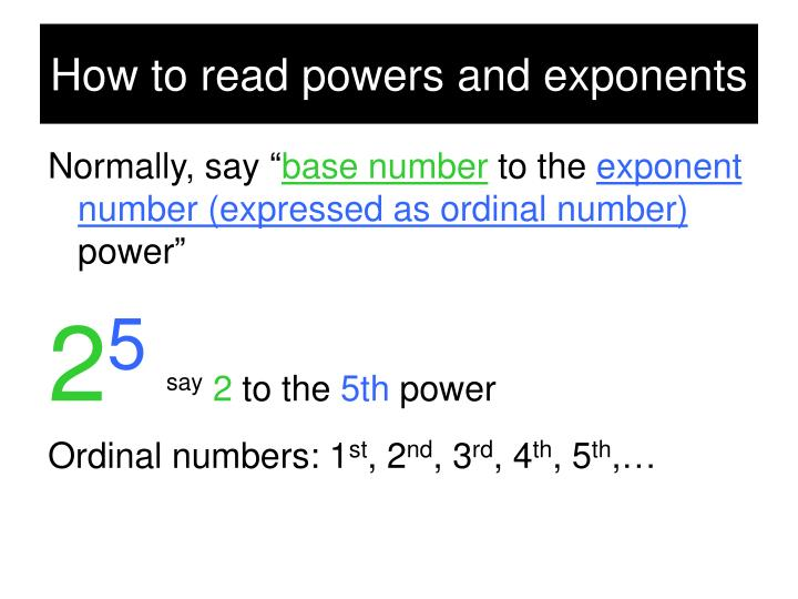 How to read powers and exponents
