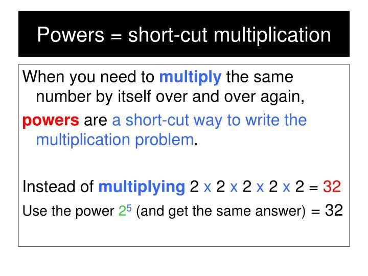 Powers = short-cut multiplication