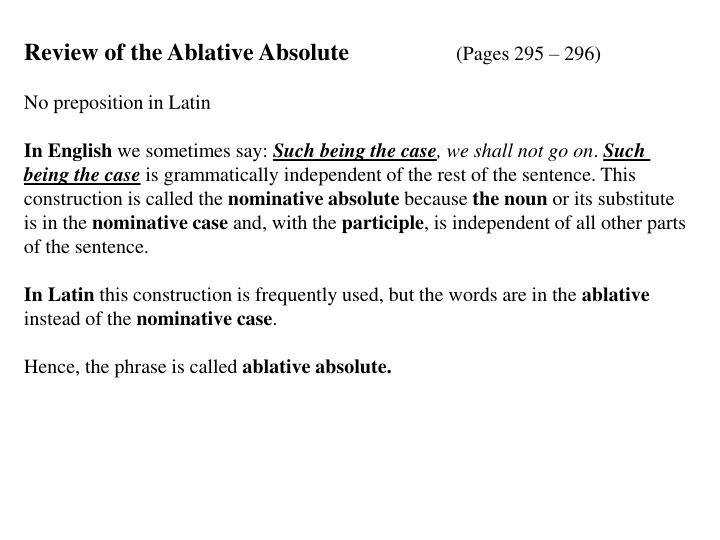Review of the Ablative Absolute