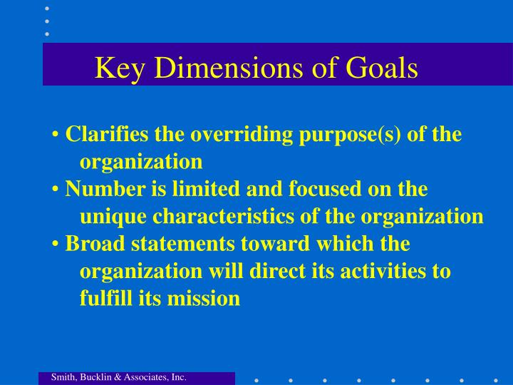 Key Dimensions of Goals