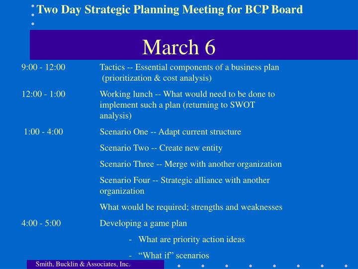 Two Day Strategic Planning Meeting for BCP Board