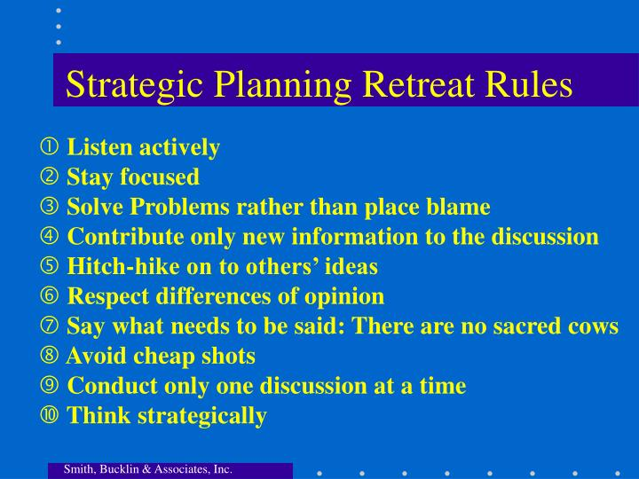 Strategic Planning Retreat Rules