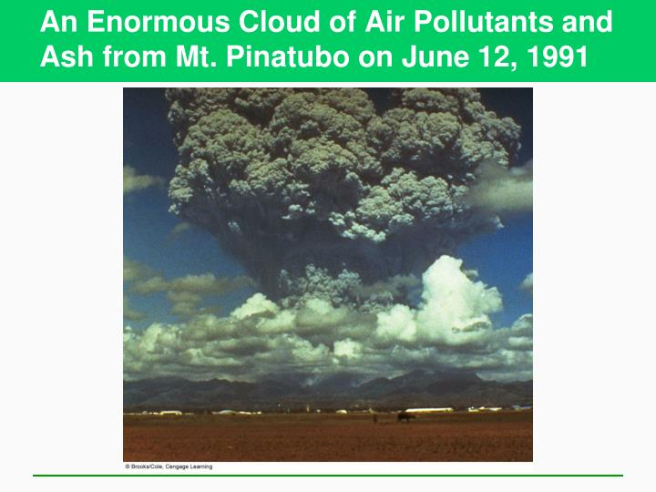 An enormous cloud of air pollutants and ash from mt pinatubo on june 12 1991