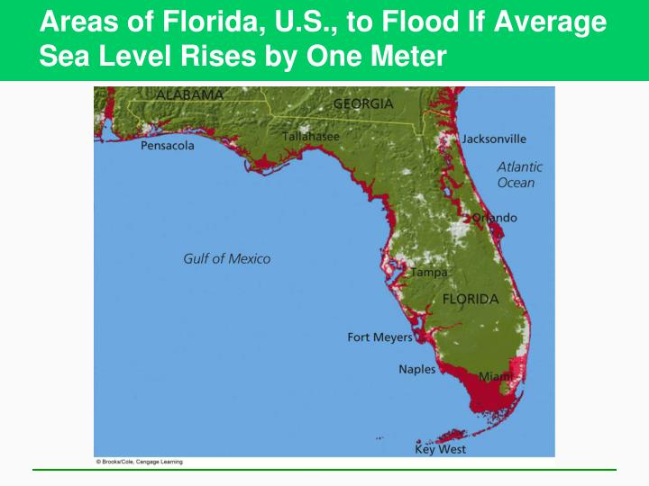 Areas of Florida, U.S., to Flood If Average Sea Level Rises by One Meter