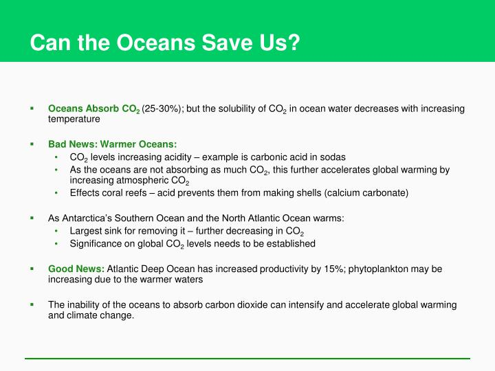 Can the Oceans Save Us?