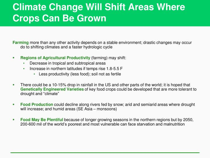 Climate Change Will Shift Areas Where Crops Can Be Grown