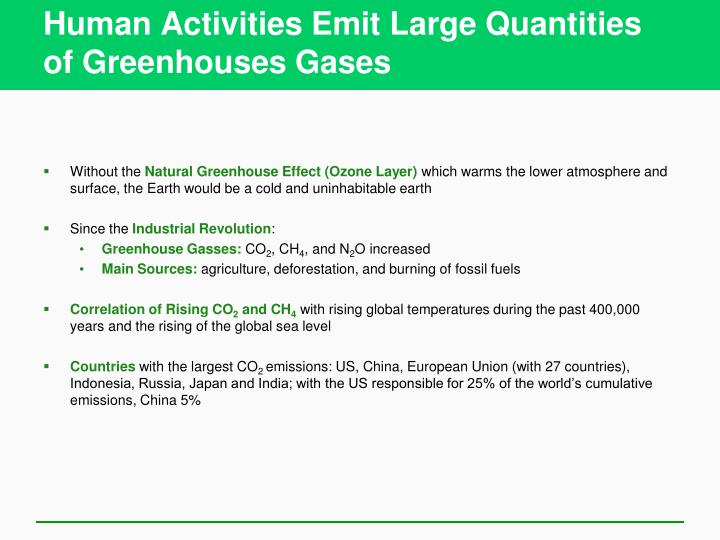 Human Activities Emit Large Quantities of Greenhouses Gases