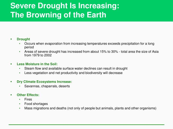 Severe Drought Is Increasing: