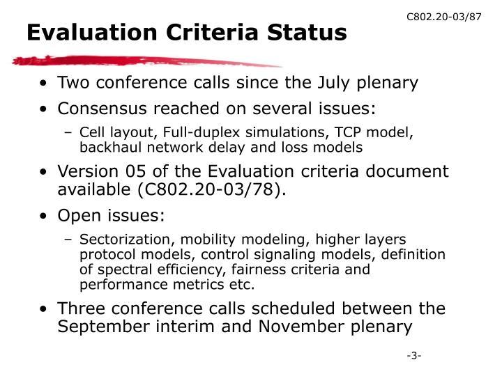 Evaluation Criteria Status