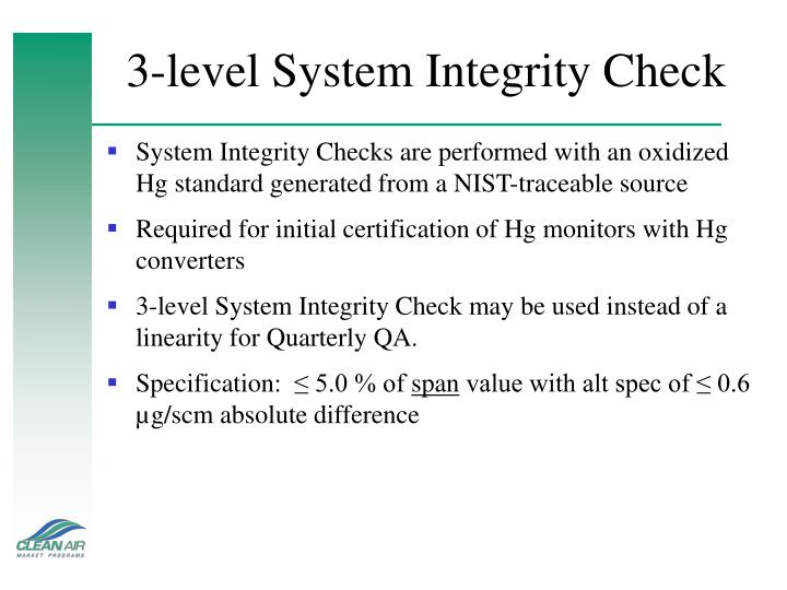 3-level System Integrity Check