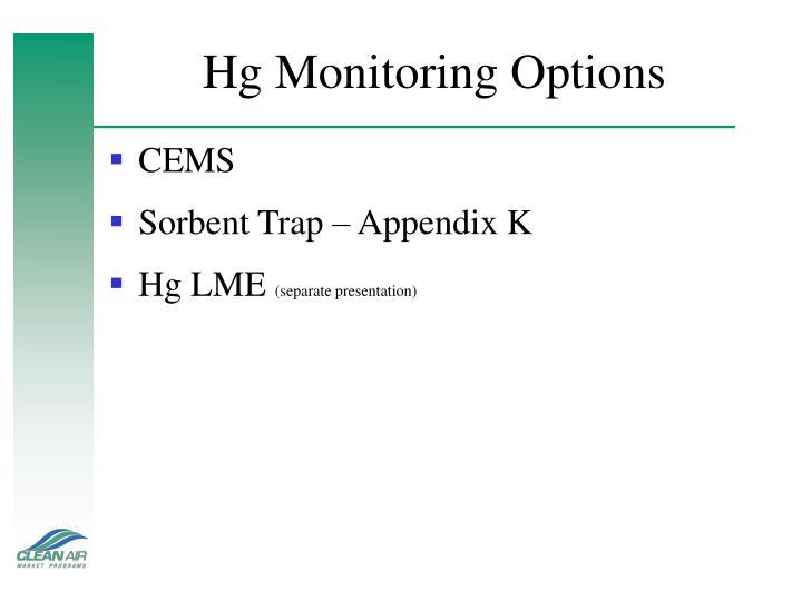Hg Monitoring Options