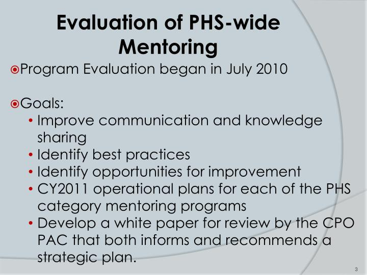 Evaluation of phs wide mentoring