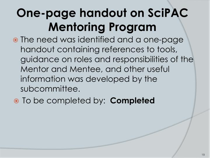 One-page handout on SciPAC Mentoring Program