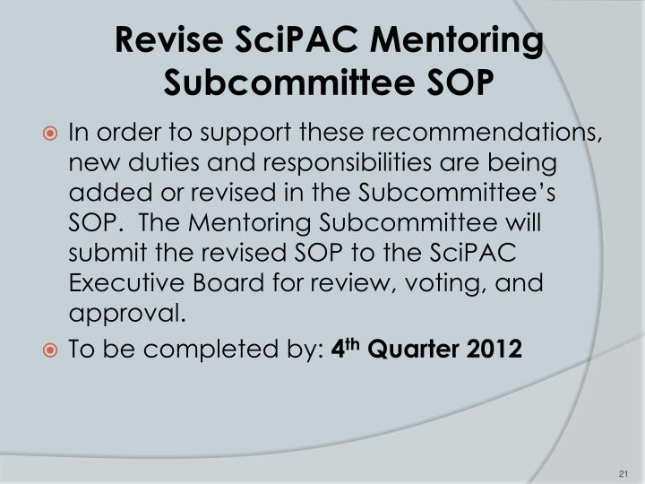 Revise SciPAC Mentoring Subcommittee SOP