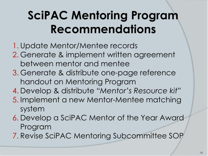 SciPAC Mentoring Program Recommendations