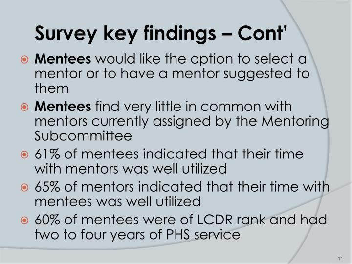 Survey key findings – Cont'