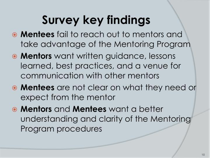 Survey key findings