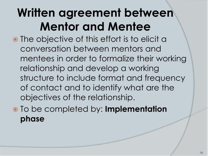Written agreement between Mentor and Mentee