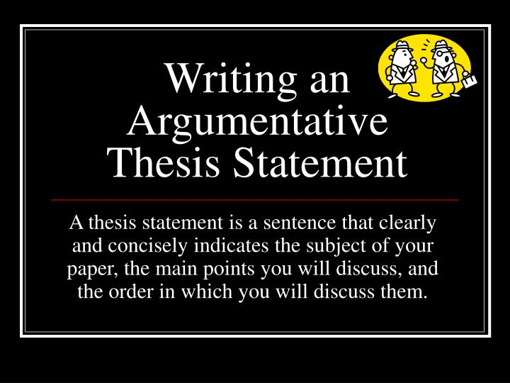 Argumentative Thesis An Argumentative Thesis