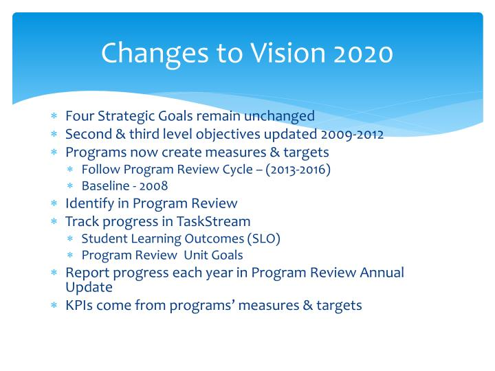 Changes to Vision 2020