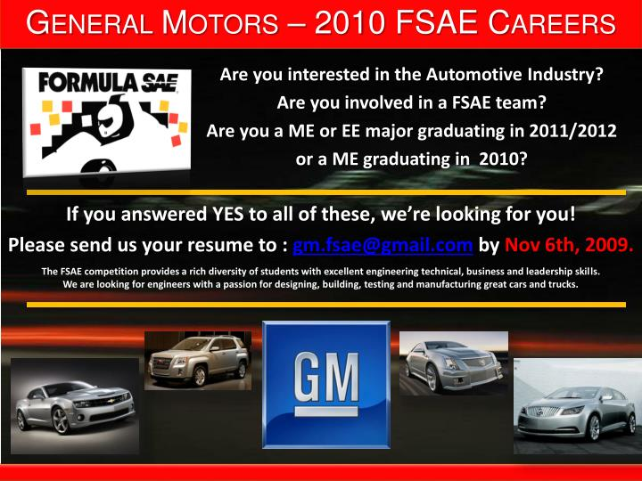 General motors 2010 fsae careers