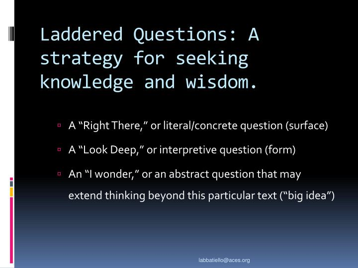 Laddered Questions: A strategy for seeking knowledge and wisdom.