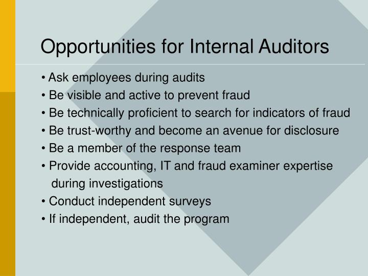 Opportunities for Internal Auditors