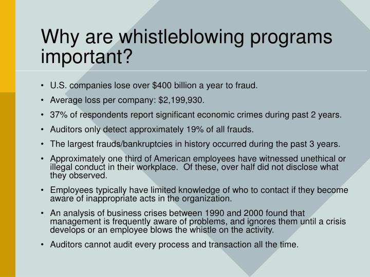 Why are whistleblowing programs important