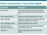 show commands in user exec mode
