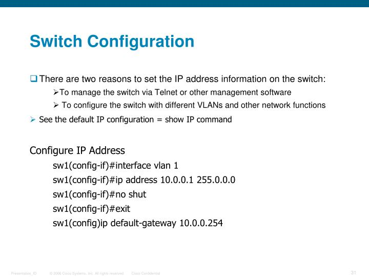 Switch Configuration