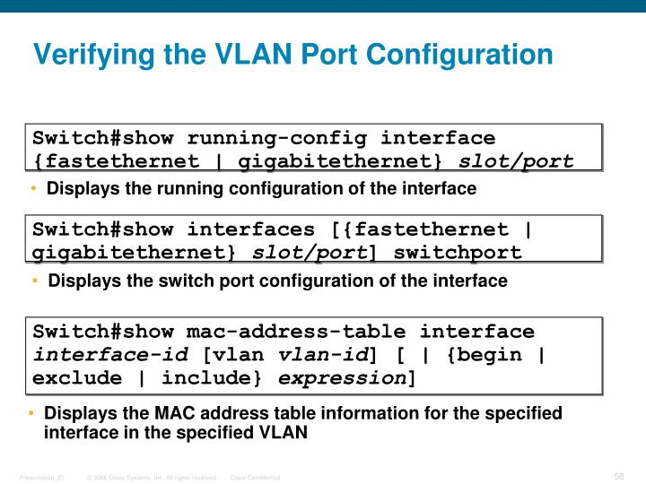 Verifying the VLAN Port Configuration