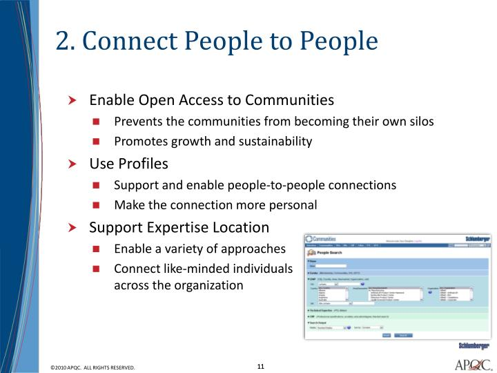 2. Connect People to People