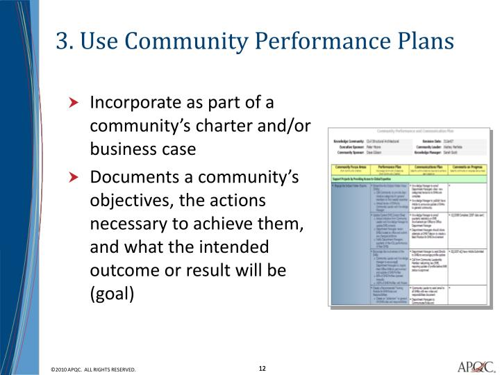 3. Use Community Performance Plans