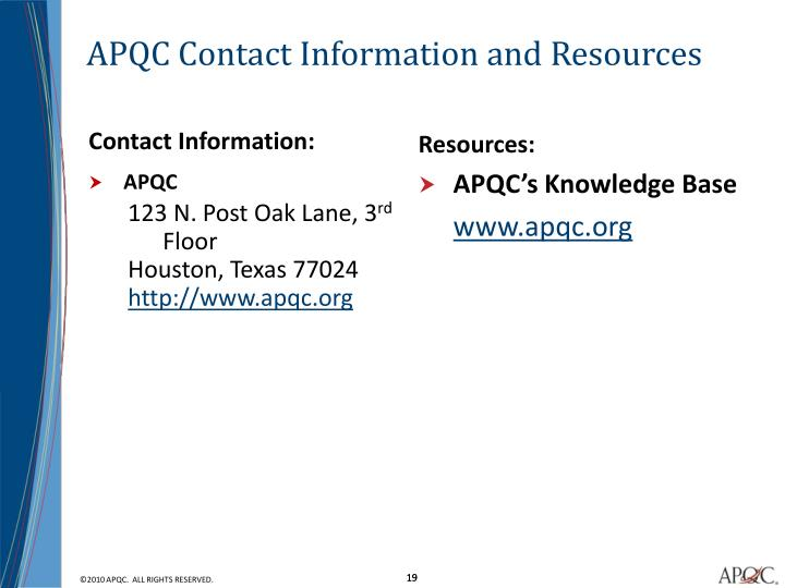 APQC Contact Information and Resources