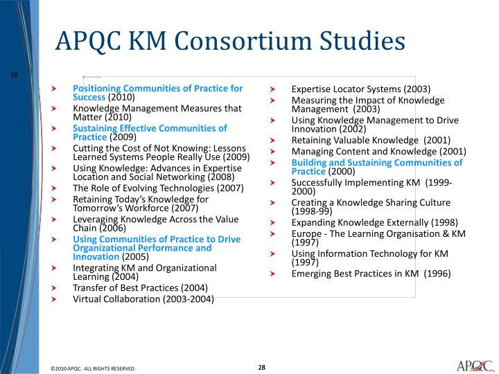 APQC KM Consortium Studies