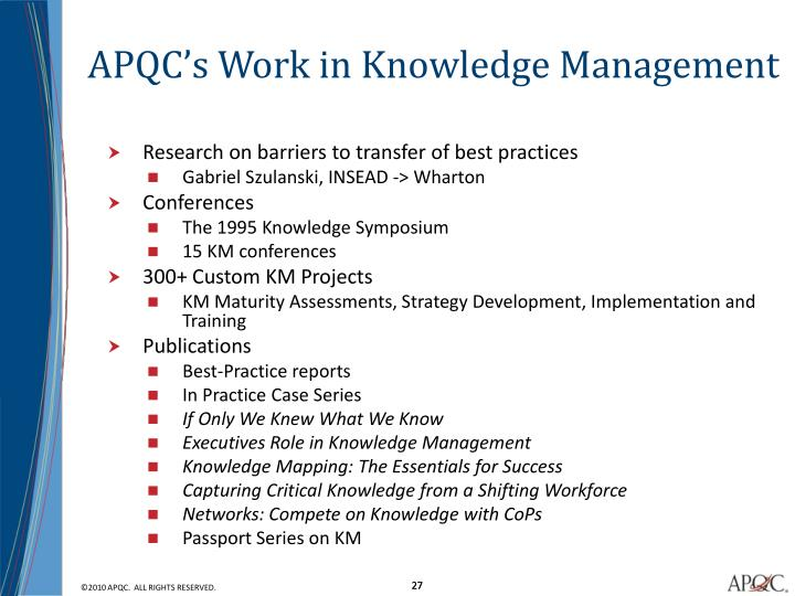 APQC's Work in Knowledge Management