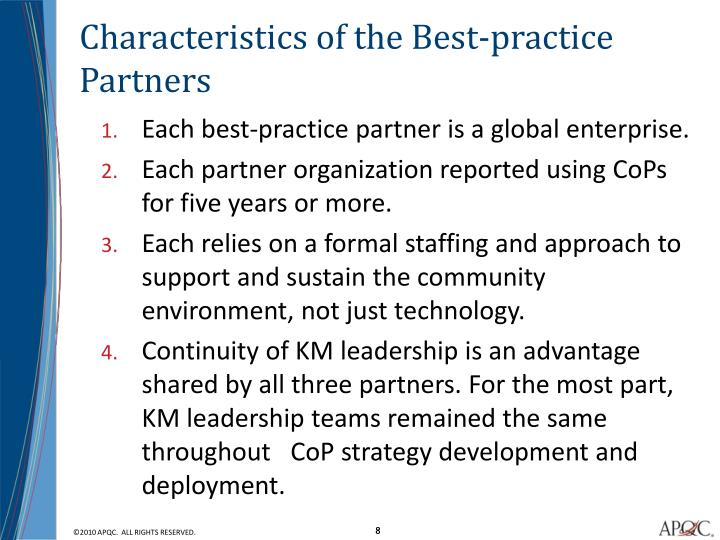 Characteristics of the Best-practice Partners