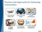 practices and approaches for sustaining communities