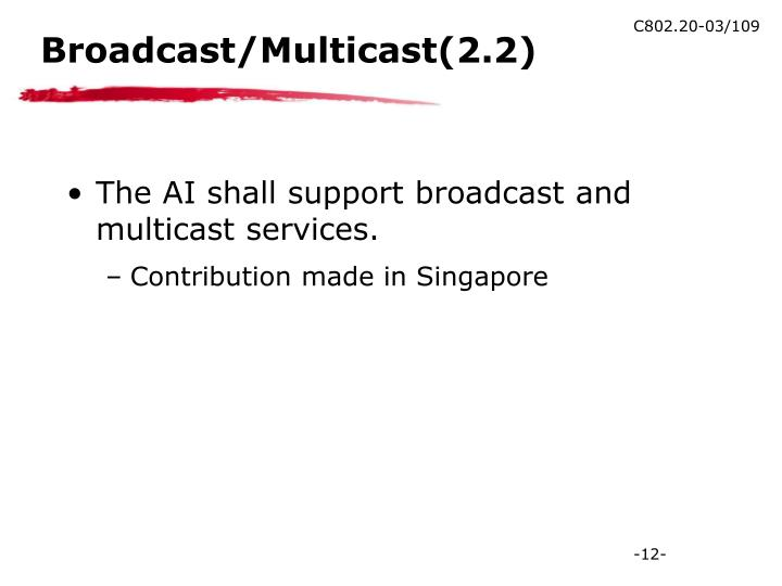Broadcast/Multicast(2.2)
