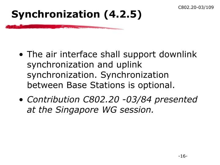 Synchronization (4.2.5)