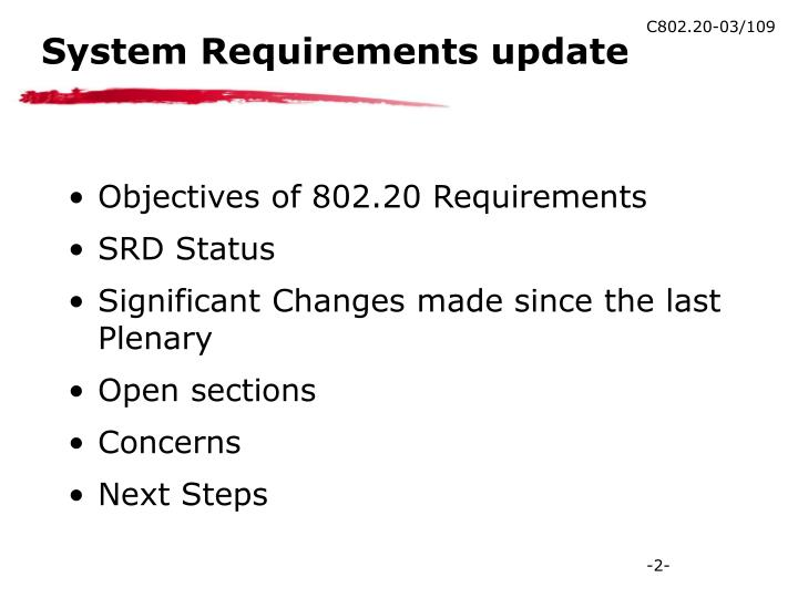 System requirements update