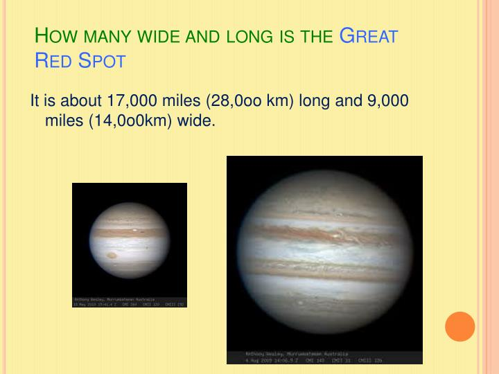 How many wide and long is the great red spot