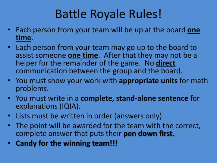 Battle royale rules