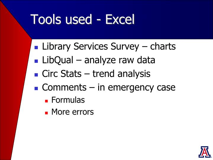Tools used - Excel