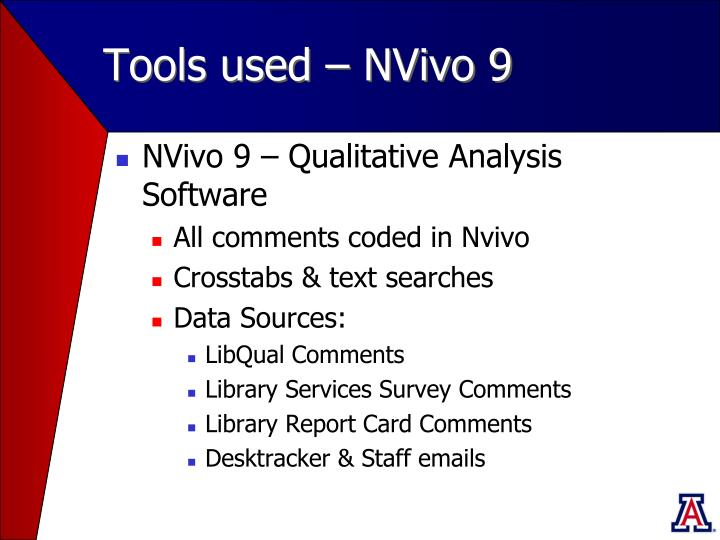 Tools used – NVivo 9