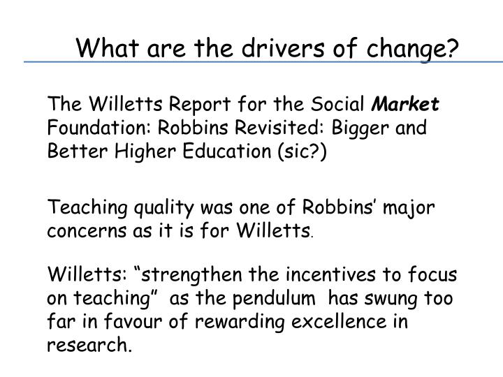 What are the drivers of change?