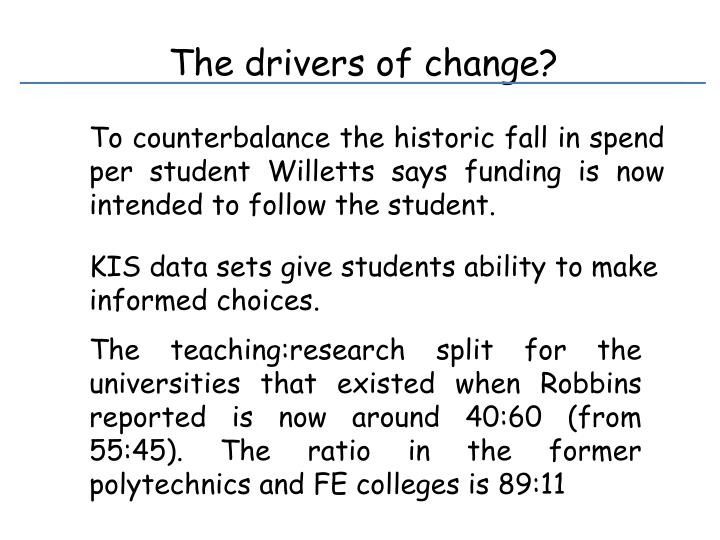 The drivers of change?
