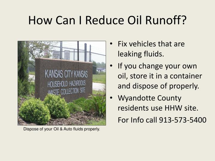 How Can I Reduce Oil Runoff?