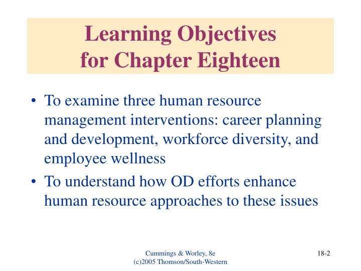 Learning objectives for chapter eighteen
