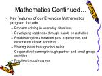 mathematics continued